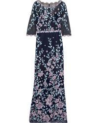Marchesa notte Floral-appliquéd Macramé Lace Gown Indigo - Blue