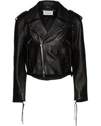 Maison Margiela Cropped Lace-up Leather Biker Jacket - Black