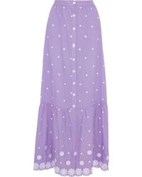 Miguelina Aiden Embroidered Cotton-voile Maxi Skirt Lavender - Purple