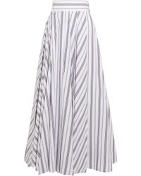 Awake - Striped Cotton-poplin Maxi Skirt - Lyst