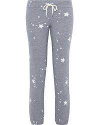 Monrow - Printed Mélange French Terry Track Pants - Lyst