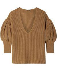 Caroline Constas Ribbed Cotton And Wool-blend Jumper Camel - Natural