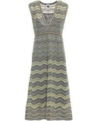 M Missoni Metallic Chevron Dress - Grey