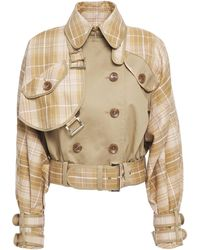 Zimmermann Double-breasted Panelled Checked Cotton-blend Jacket Camel - Natural