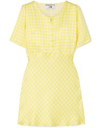 BERNADETTE Florence Gingham Silk-satin Mini Dress Yellow
