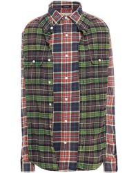 R13 Oversized Panelled Checked Cotton-flannel Shirt - Green
