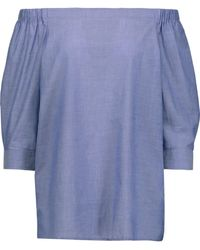 6d42c9b3ed2e45 Theory - Woman Joscla Off-the-shoulder Cotton Top Blue - Lyst