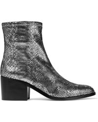 Opening Ceremony - Livv Metallic Snake-effect Stretch-leather Ankle Boots - Lyst
