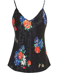 Tory Burch Floral-print Silk-satin Jacquard Camisole - Black