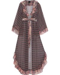 Anna Sui Metallic Ruffle-trimmed Printed Silk-chiffon Kimono Navy - Blue