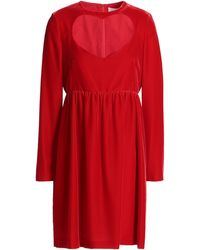Chloé - Chloé Cutout Velvet Mini Dress Crimson - Lyst