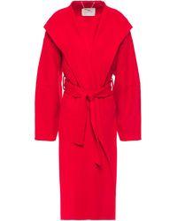 Zimmermann Belted Wool-felt Coat Red