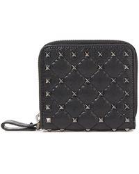 Valentino Garavani Rockstud Spike Quilted Cracked-leather Wallet Black