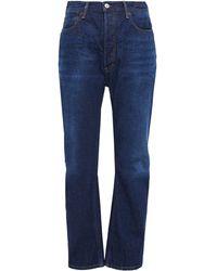 Acne Studios Log Faded High-rise Straight-leg Jeans Dark Denim - Blue