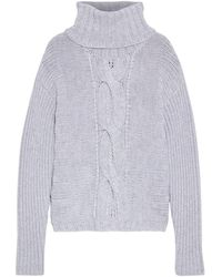 Duffy Cable-knit Merino Wool Turtleneck Jumper Light Grey