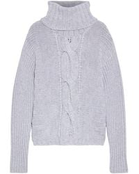 Duffy Cable-knit Merino Wool Turtleneck Sweater Light Gray
