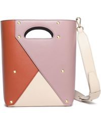 Yuzefi Pablo Color-block Textured-leather Shoulder Bag Tan - Pink