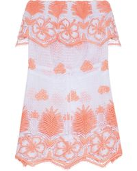 Miguelina Dylan Strapless Crocheted Cotton Coverup Coral - Pink