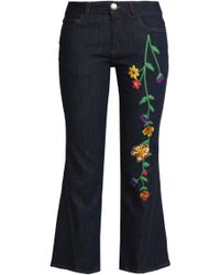 See By Chloé - See By Chloé Embroidered Mid-rise Kick-flare Jeans Dark Denim - Lyst