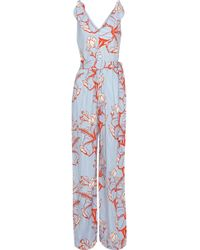 Lela Rose - Woman Bow-detailed Printed Twill Jumpsuit Light Blue Size 0 - Lyst