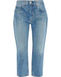 Rag & Bone Cropped Distressed Boyfriend Jeans Mid Denim - Blue