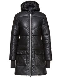 Walter Baker Robert Quilted Leather Hooded Coat - Black