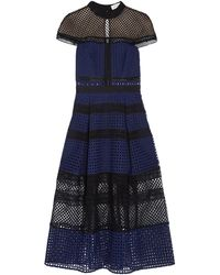 Self-Portrait - Pleated Guipure Lace Midi Dress Navy - Lyst