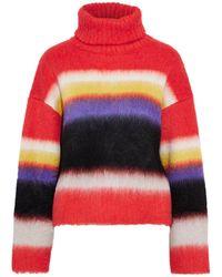 Diane von Furstenberg Striped Brushed Knitted Turtleneck Sweater Coral - Multicolour