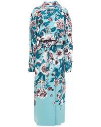 Diane von Furstenberg Floral-print Twill Trench Coat Light Blue