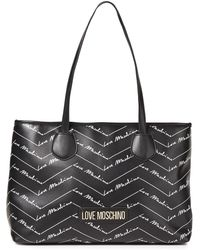 Love Moschino Tote bag aus kunstleder mit logoprint - Schwarz