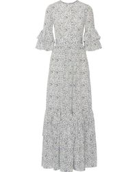 Co. - Ruffled Floral-print Silk Crepe De Chine Maxi Dress - Lyst
