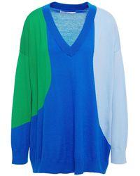 Chinti & Parker Flash Color-block Cashmere Jumper Bright Blue