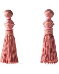 Oscar de la Renta - Gold-tone, Cord And Bead Tassel Clip Earrings Antique Rose - Lyst