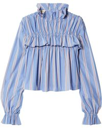 Marni - Ruffled Striped Cotton-poplin Top - Lyst