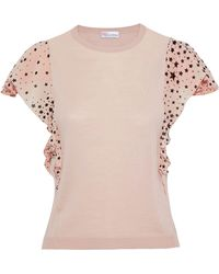 RED Valentino Printed Crepe De Chine-trimmed Silk-blend Top Pastel Pink