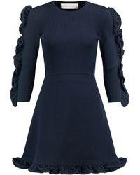 Victoria, Victoria Beckham - Woman Ruffle-trimmed Ribbed Stretch-knit Mini Dress Midnight Blue - Lyst