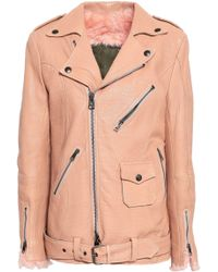 Mr & Mrs Italy Shearling-lined Textured-leather Biker Jacket Blush - Multicolour