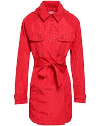 MICHAEL Michael Kors - Double-breasted Polka-dot Shell Hooded Trench Coat - Lyst