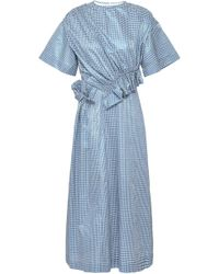 Mother Of Pearl - Woman Thelma Ruched Gingham Metallic Jacquard Midi Dress Light Blue - Lyst
