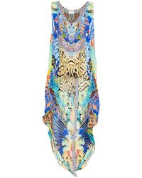 Camilla Asymmetric Crystal-embellished Printed Silk Crepe De Chine Top - Blue