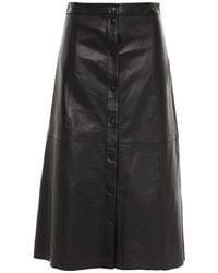 Muubaa Popper Textured-leather Midi Skirt - Black