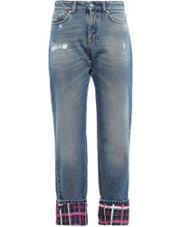 Versus Cropped Panelled Distressed Mid-rise Straight-leg Jeans Mid Denim - Blue