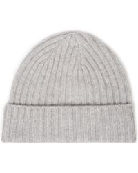 N.Peal Cashmere Ribbed Cashmere Beanie Light Grey