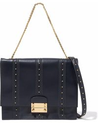 Valentino - Studded Leather Shoulder Bag Midnight Blue - Lyst