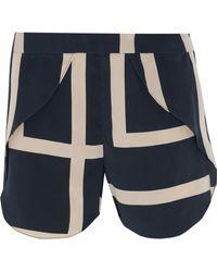 Totême  - Split Printed Silk Crepe De Chine Shorts - Lyst