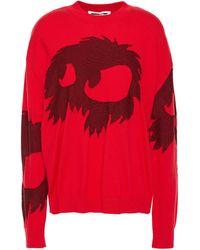 McQ Jacquard-knit Cotton Sweater Tomato Red