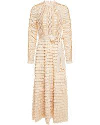 Zimmermann Espionage Tiered Belted Lace-up Stretch-silk Twill Midi Dress - Natural
