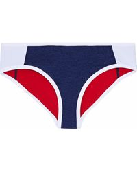 Duskii Mélange neoprene mid-rise bikini briefs - Blau
