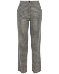 American Vintage Floral-print Cotton And Wool-blend Twill Straight-leg Trousers - Black