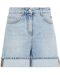 MSGM Embroidered Denim Shorts Light Denim - Blue
